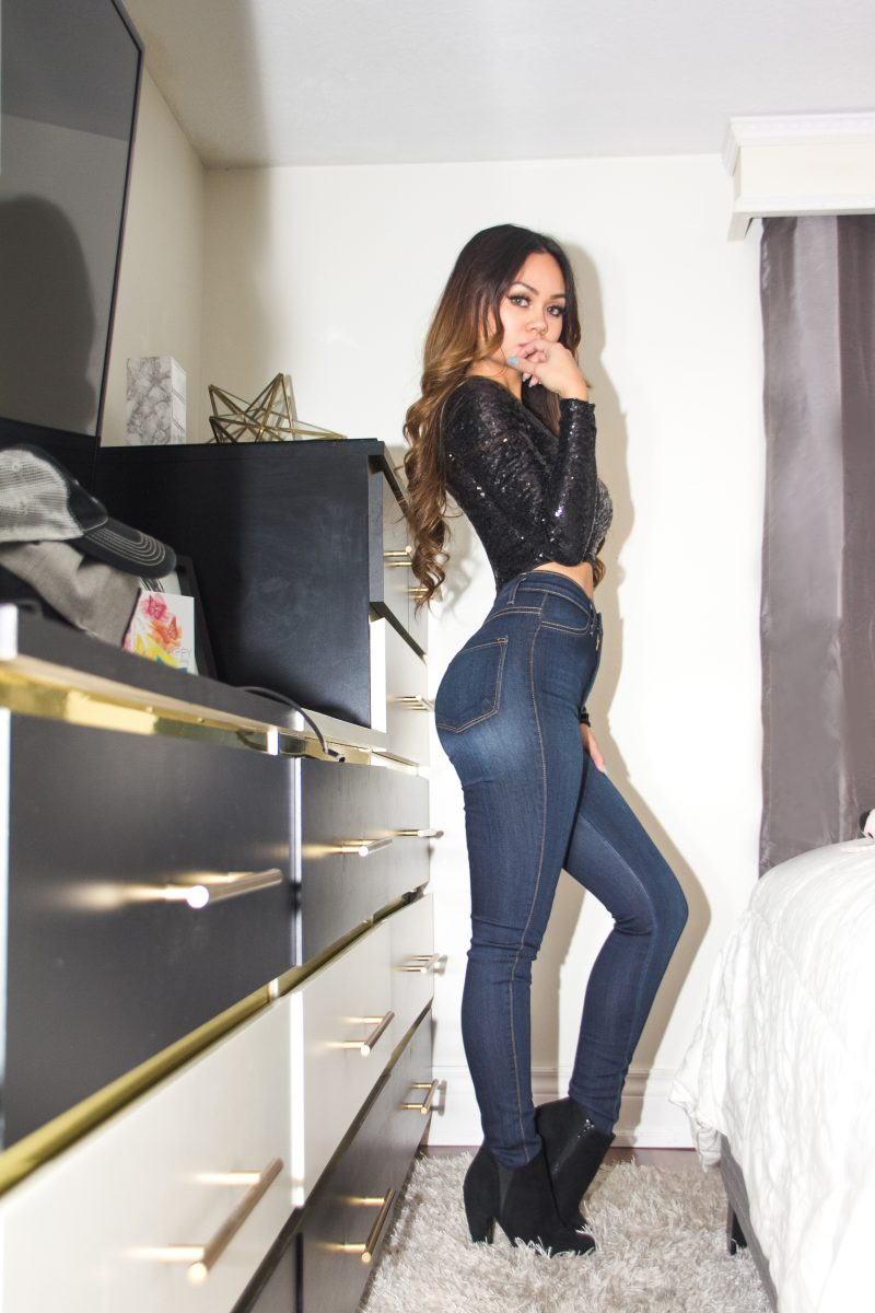 Rose Russo Rosebud143 Russostyles Fashion nova regular waisted skinny jeans sequence crop top